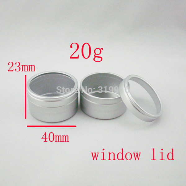 20g X 50 empty cosmetic aluminum tin jars 20ml disposable aluminum container cosmetic packaging pot 20g with window cap bottles