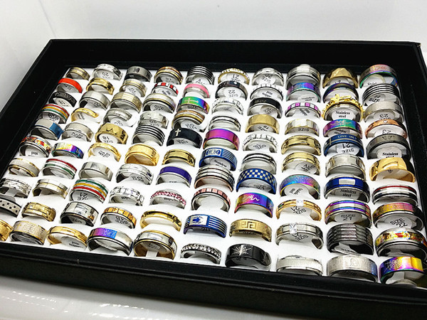 best selling wholesale 100pcs box mix styles assorted stainless steel jewelry rings with a display tray box together
