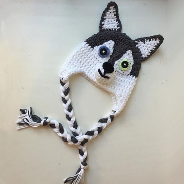 Novidade Husky Hat, Feito À Mão Tricô Crochê Baby Boy Menina Cão Animal Hat, Criança Earflap Cap Engraçado, Infantil Fotografia Adereços