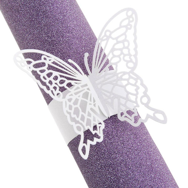 Wholesale- 50x Paper Napkin Rings Holders Laser Cut Butterfly Table Wedding Party Decor New Wedding Decoration