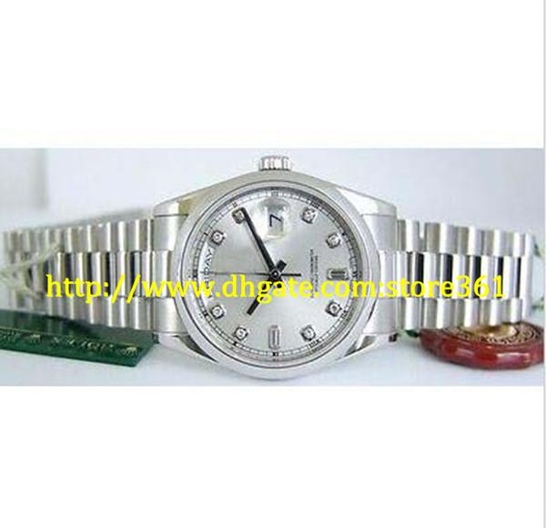 Store361 chegam novas assistir Mens 36mm PLATINUM PRESIDENT Silver DIAMOND Dial 118206