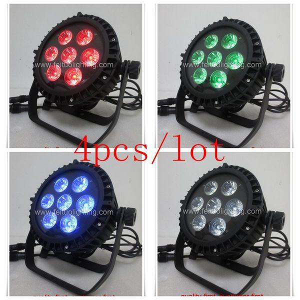 4/lot led par wash light 7x18w outdoor 6 in 1 led par can ip65 par64 rgbwa uv led par light