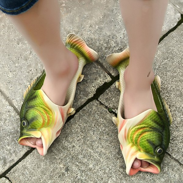 Fish Slippers Handmade Summer Fish Sandals Fish Beach Slippers Unisex Creative Shoes Kids Couple Open Toe Flat Novelty Adult Shoes New
