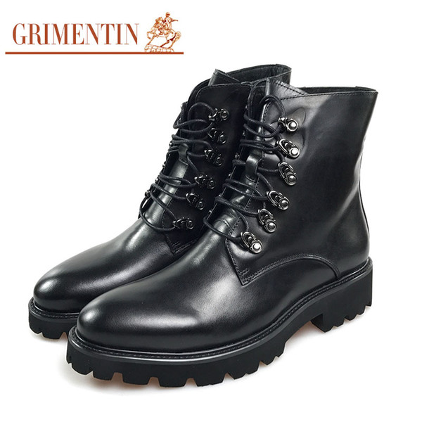 GRIMENTIN Hot sale brand mens boots fashion genuine leather black lace up outdoor Mid-Calf formal business men dress boots for mens shoes K3