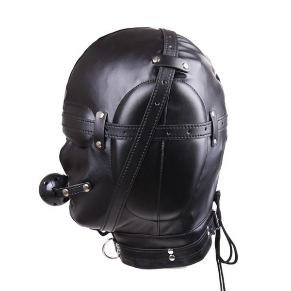 Faux Leather Full Gimp Hooded Mask Padded Locking Blindfold Open Mouth Gag Like Penis Restraint BDSM Bondage Sex Toys