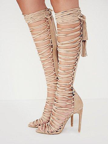 Wholesale-Newest Sexy Lace Up Thigh High Gladiator Sandals Boots Cut-outs Over Knee Gladiator Boots Leather High Heel Summer Boots