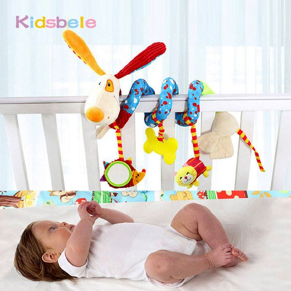 Wholesale- Baby Soft Plush Toys Crib Hanging Rattles Mobiles Coloring Animals Ring Bell Rustle Sound Kids Toys For Children Christmas Gift