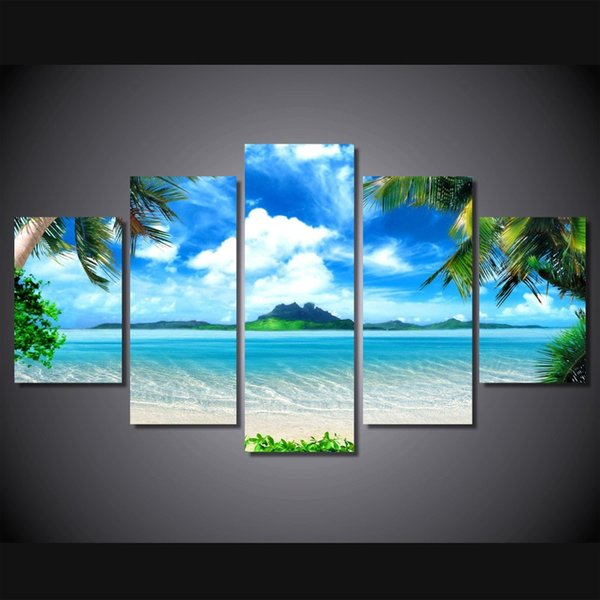 5 Pcs/Set Framed HD Printed Beach Blue Sky Palm Trees Picture Wall Art Canvas Print Room Decor Poster Canvas Modern Oil Painting