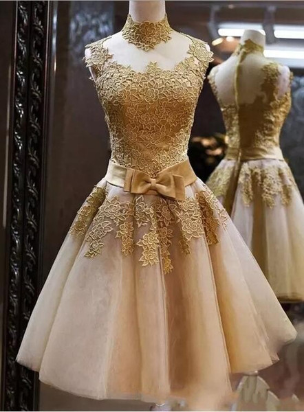 2017 Sleeveless Lace Appliqued Cheap Homecoming Dresses Champagne High Neck Mini Short Cocktail Dresses Formal Party Wear Short Prom Dress