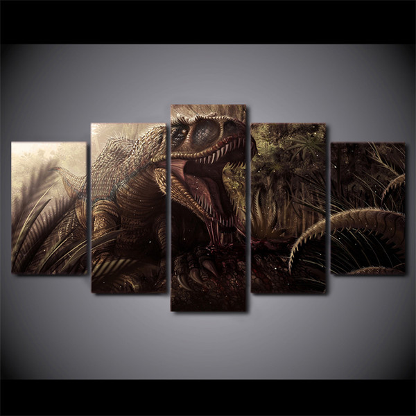 5 Pcs/Set Framed HD Printed Animation Dinosaur Group Painting Canvas Print room decor print poster picture canvas Free shipping/ny-482