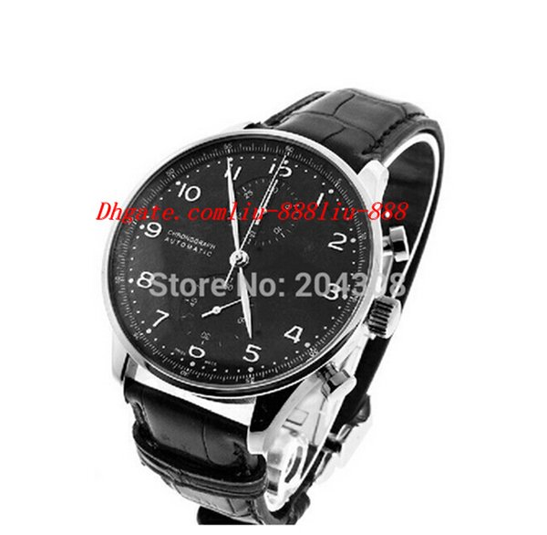 luxury watches brand new sell iw371447 stainless steel automatic mens watch black dial men's sport wrist watches leather strap, Slivery;brown