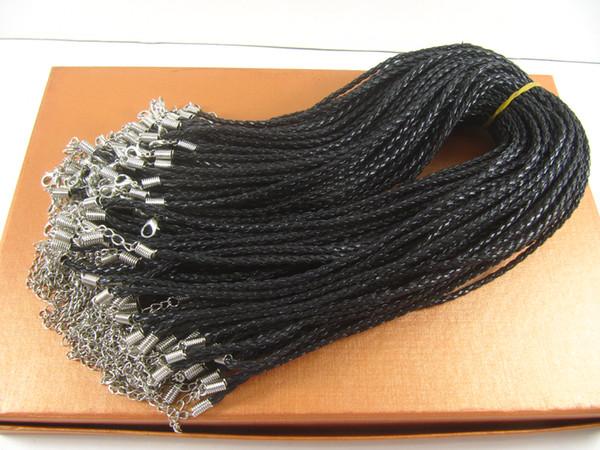 Nuevo 100 unids / lote cuerdas collar de cuero juego de ajuste Hebilla de langosta longitud de la joyería 48 + 5 cm alrededor de 15 pulgadas Accesorios de joyería # 2