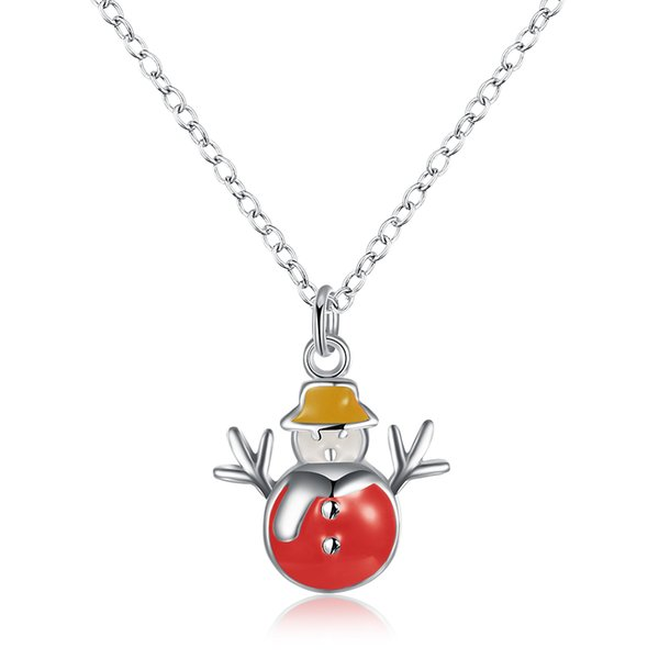 2017 Christmas Pendant Necklace Creative Enamel Snowman Necklace Silver Plated Pendant Necklace Best Xmas Gift for girls women 3 colors