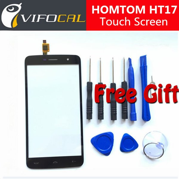 Wholesale- HOMTOM HT17 Pro touch screen 100% New Digitizer Glass Panel Replacement repair accessory For HOMTOM HT17 Mobile Phone
