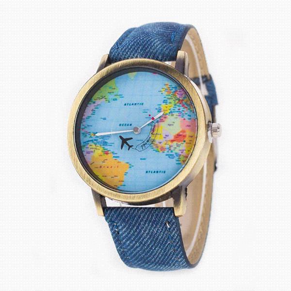 Yeni Tasarım Mini Dünya Haritası Izle Kadın Erkek Vintage Casual Kuvars Kol Saati Bayanlar için Hediye Beyler