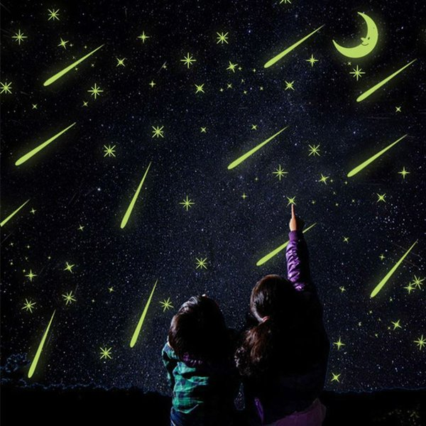 25X21cm Meteor shower Wall Stickers Romantic Sky Star Moon Wall Decals Luminous stickers fluorescence Kids Room Bedroom Nursery