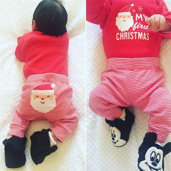 INS My First Christmas Autumn Clothing Sets Newborn Baby Boys Girls Stripe Letter Santa Claus Printed Long Sleeve Tops+ Pants Outfits 2pcs