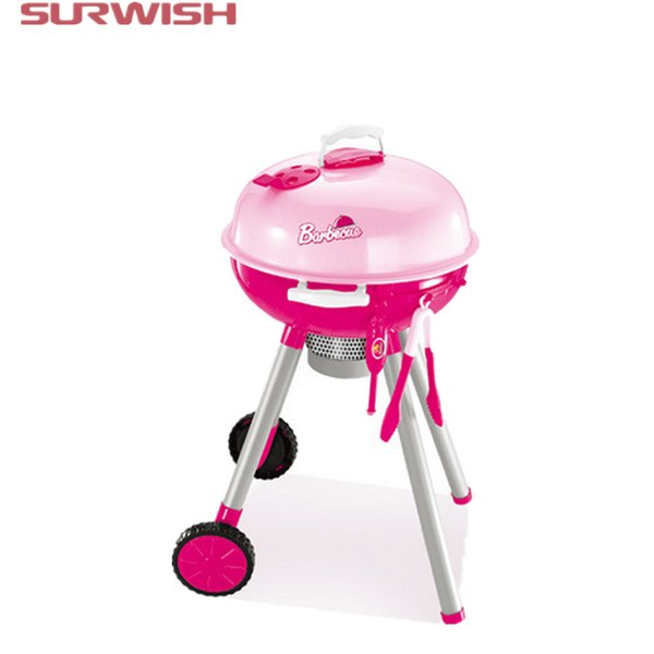 Wholesale- Surwish Children Cooking Play BBQ Stroller Toy Set Pretend & Play Baby Kids Home Educational Toy - Pink
