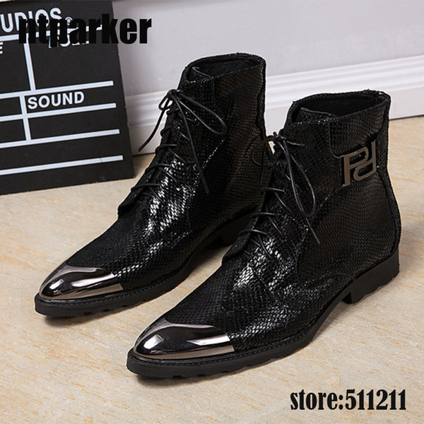 New Fashion Men Boots black military boots leather cowboy, motorcycle Ankle Boots for Men with Metal Cap zapatos de hombre, Big US6-12