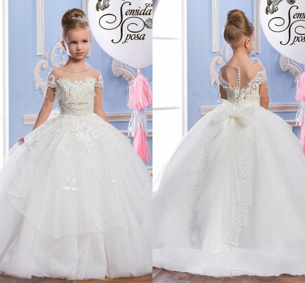 2017 Pearls Lace Sheer Neck Tulle Arabic Flower Girl Dresses Sheer Neck Vintage Child Pageant Dresses Beautiful Flower Girl Wedding Dresses