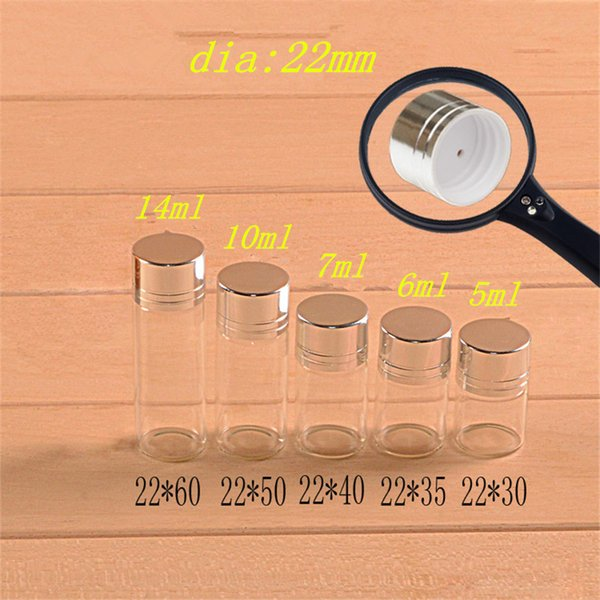 22*55*14mm 10ml Glass Bottles Screw Cap Silver Aluminium Lid Empty Glass Jars Vials Bottles Sealing up Mason Jars 10ml 100pcs