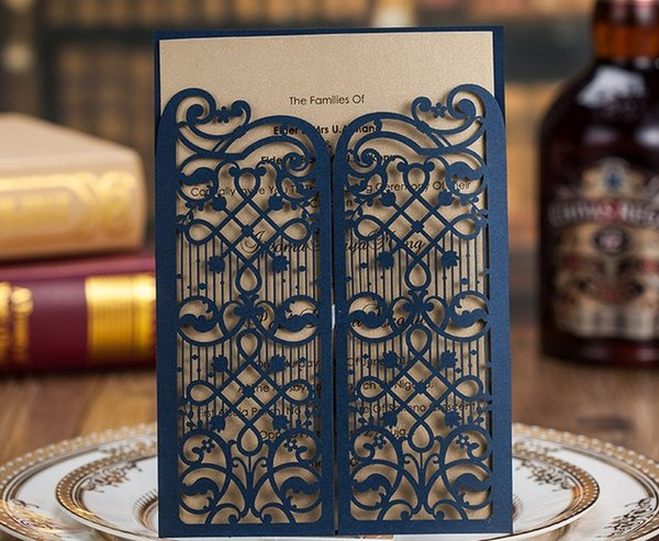 Hollow wedding invitation cards personalized Dark royal blue laser cut invitation cards with envelope and inserts via DHL free shipping