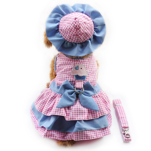 armipet Lattice Dog Dresses Fashion Princess Dress For Dogs 6071079 Pet Clothing Supplies (Dress+Hat+Panties+Leash = 1 set