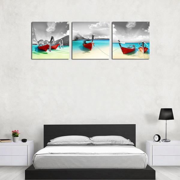 3 Panles Red Boat on Seaside Canvas Painting Seascape Picture Stampa Wall Art Painting con cornice in legno per la decorazione domestica