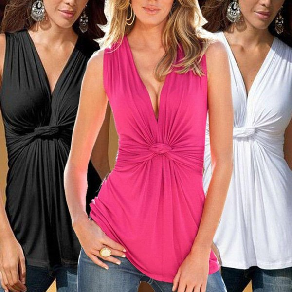 New 2016 Fashion Women Ladies Summer Sexy V Neck Kink Vest Sleeveless Blouses Tops chemise femme Casual Cotton blusas Shirt Z2