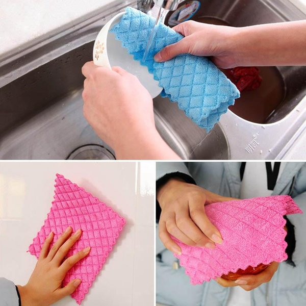 Bamboo Fiber Dish Cloth Colorful Washing Towel Absorbent Kitchen Cleaning Wiping Rags