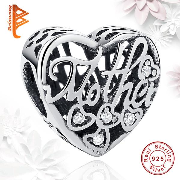 BELAWANG passen Pandora ArmbandKette DIY Machen Herzform Perlen 925 Sterling Silber Kristall Charm Perlen für Mutter Thanksgiving Day