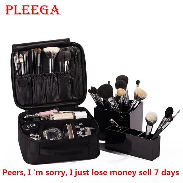 Al por mayor- PLEEGA Marca Mujeres Bolsa de cosméticos de alta calidad Organizador de cosméticos de viaje Cremallera Portátil Bolsa de maquillaje Diseñadores Tronco Bolsas de cosméticos