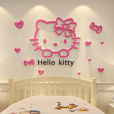 DIY Hello Kitty 3D Stereoscopic Wall Stickers For Kids Rooms Acrylic  Crystal Cartoon Bedroom Background Wall