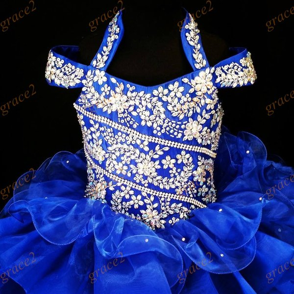 International Glitz Girls Pageant Dresses 2017 with Halter Neck and Ruffled Skirt Real Photos Royal Blue Ritzee Toddler Pageant Dress