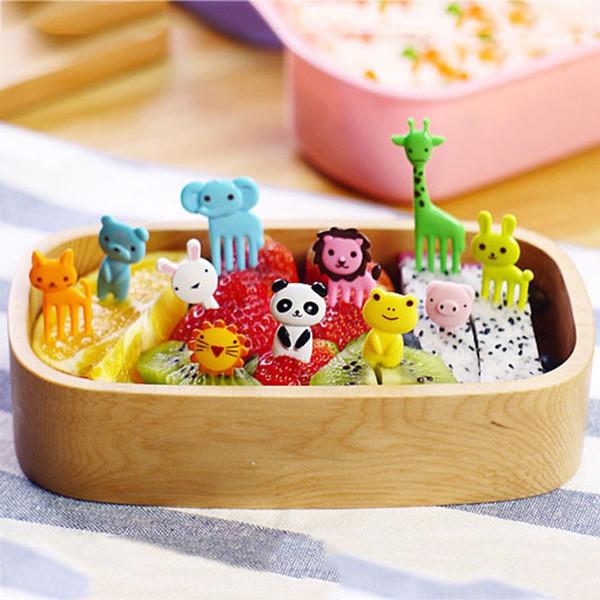 10 PCS / Set Nouvelle Animal Farm Mini Cartoon Fruit Fork Set Utile Bento Box Accessoires En Plastique Fruit Toothpick Kitchenware