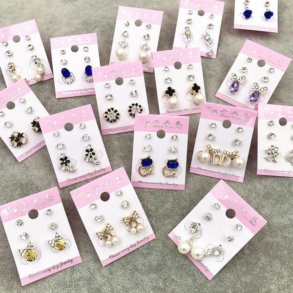 best selling Wholesale Stud Crown Princess Cross Wedding Earrings Fashion 3 Pair Lot Silver Gold Rhinestone Pearl Opal Zircon Trendy Jewelry Free DHL