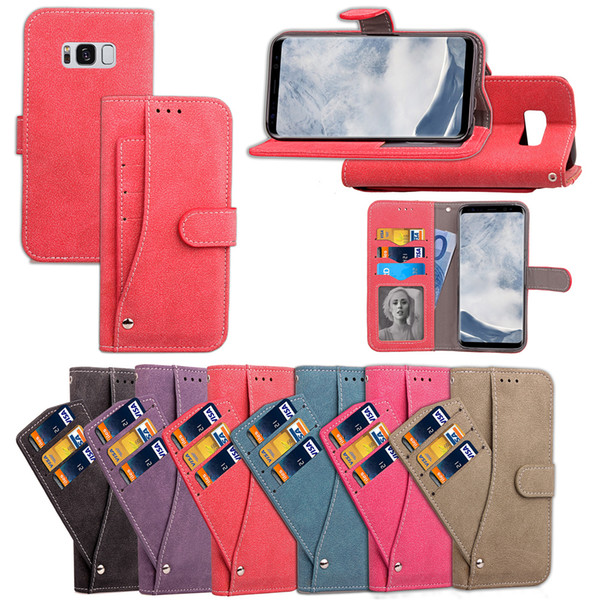 For iPhone 8 Case Cover Phone Stand Convenient Cool Revolving Wallet Card Pocket Design Frosting Rough Ati-skid Surface