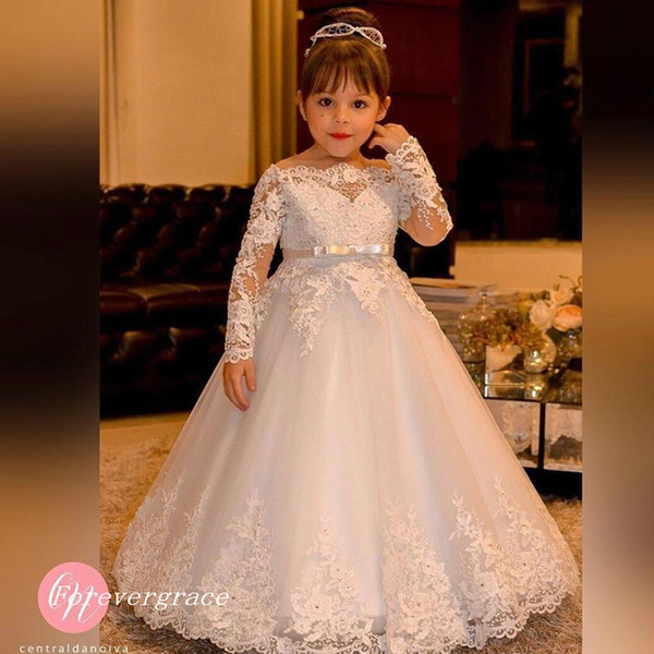 High neck flower girl dresses coupons promo codes deals 2018 free shipping vintage princess flower girl dresses 2017 high quality boat neck lace long sleeves pretty kids first holy communion dress mightylinksfo