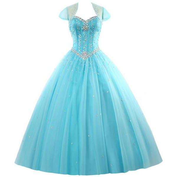 Amazing Rhinestone Crystals Blush Peach Quinceanera Dresses 2019 Sexy Sheer Crew Sweet 16 Ruffle Princess Prom Ball Birthday Party Gowns