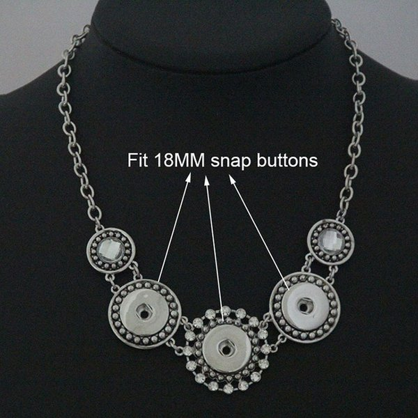 Wholesale free shipping exaggeration Geometric patterns snap button jewelry snap Necklace chunks (fit 18mm 20mm snaps)