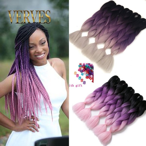 top popular VERVE three tone ombre purple braiding hair beautiful expression braiding hair 100g pce ombre jumbo braid synthetic hair extensions 2019