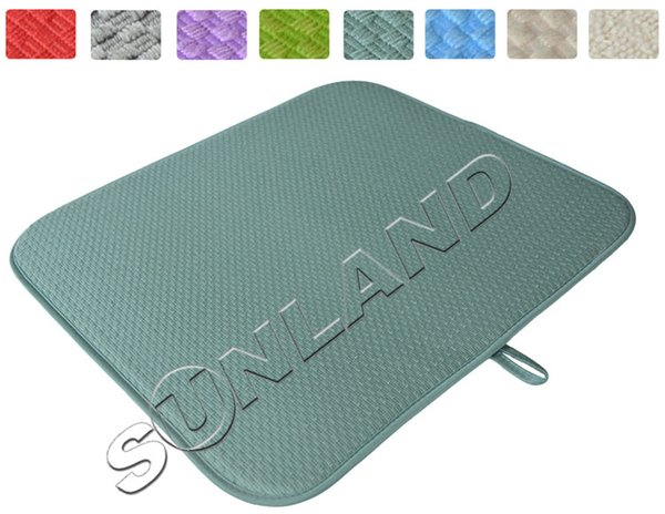 Wholesale- High Quality 16inch x 18inches Waffle Weave Dish Drying Mat For Kitchen Microfiber Cushion Pad XL - Dark Sea Green