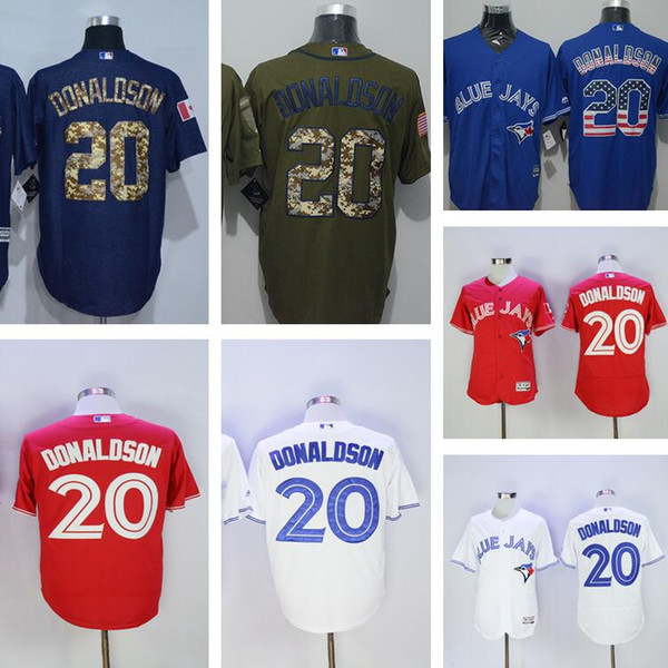 new styles c616c 859e2 2019 New Baseball 20 Josh Donaldson Jersey Toronto Blue Jays Vintage  Flexbase Cool Base Stitched 2017 With 40th Patch Button White Grey Blue Red  From ...