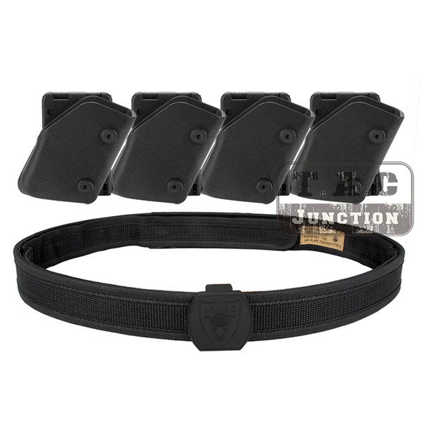 Wholesale- IPSC USPSA IDPA Competition High Speed Shooting Inner & Outer Belt w/ 4x Fast Draw Pistol Magazine Pouch Mag Carrier Holster