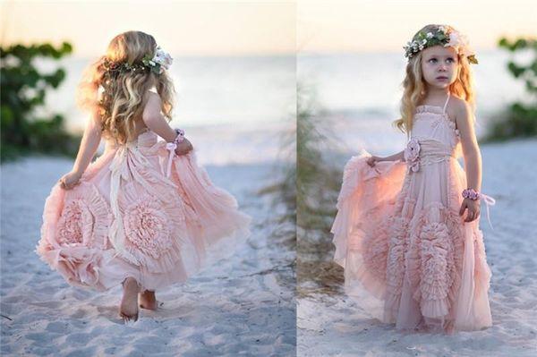 Cheap Pink Flower Girls' Dresses For Wedding 2017 Handmade Flowers Lace Applique Ruffles Kids Formal Wear Long Beach Girl's Pageant Dress