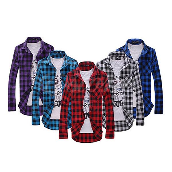 Toptan-Sıcak Satış Kore Stil Erkek Şık Slim Fit Casual Elbise Ekose Onay Gömlek