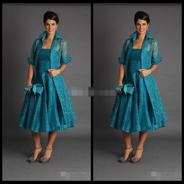 Plus Size 2019 Short Mother of The Bride Jacket Dresses Sleeveless Tea Length Green Suits Evening Gowns Cheap Organza