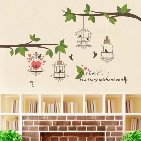Wholesale Birds Birdcage Branch Wall Stickers Decals Mural Wall Paper Art Room Home Decorations free shipping