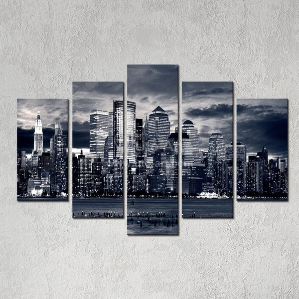 Modern Home Decor New York City Painting Black White Digital Picture Print on Canvas Art Panel for Wall Decoration
