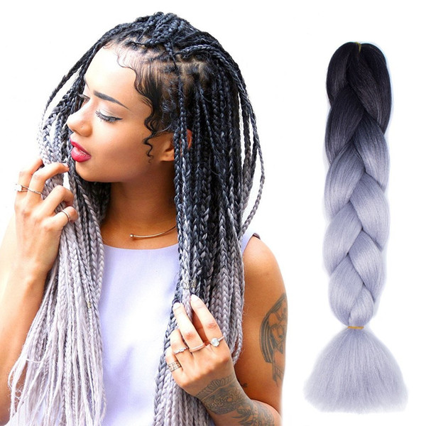 top popular Kanekalon Ombre Braiding hair synthetic Crochet braids twist 24inch 100g Ombre two tone Jumbo braid hair extensions more colors 2020